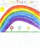 Kinderen die moedersdag trekken Stock Afbeeldingen