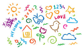 Kinderen die multicolored symbolen vectorreeks trekken Royalty-vrije Stock Fotografie