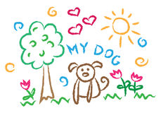 Kinderen die multicolored symbolen vectorreeks trekken Royalty-vrije Stock Afbeelding