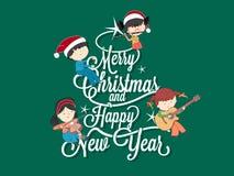 Kinderen die muziek op Vrolijke Kerstboom spelen Stock Foto