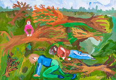 Kinderen die - na storm met weinig regen in bos trekken Stock Afbeeldingen