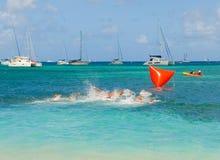 Kinderen die op de het zwemmen concurrentie in de grenadines vertrekken Stock Foto's