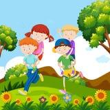 Kinderen die op de rug in aard spelen vector illustratie