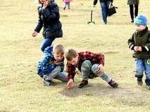 Kinderen die op het Gras spelen Royalty-vrije Stock Foto's