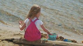 Kinderen die op het strand door de rivier op een zonnige dag spelen stock video