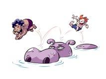 Kinderen die op hippo stuiteren vector illustratie