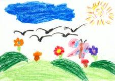 Kinderen die op papier trekken - vogelsvlieg op het zuiden royalty-vrije illustratie