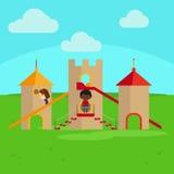 Kinderen die op speelplaats spelen vector illustratie