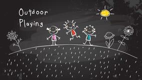 Kinderen die in openlucht spelen royalty-vrije illustratie