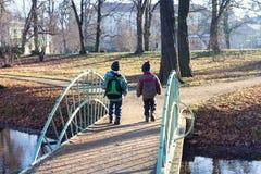 Kinderen die over brug in park lopen stock foto's