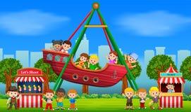 Kinderen die pret in Carnaval hebben bij dag royalty-vrije illustratie