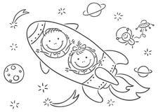 Kinderen die ruimte onderzoeken stock illustratie