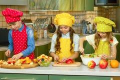 Kinderen die salade maken stock afbeelding