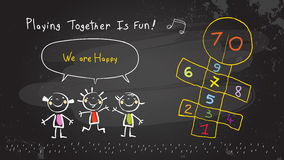 Kinderen die samen spelen stock illustratie