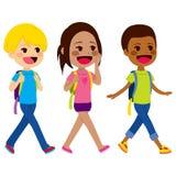 Kinderen die School lopen vector illustratie