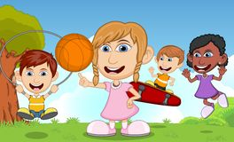 Kinderen die skateboard, basketbal, touwtjespringen in de vectorillustratie van het parkbeeldverhaal spelen Royalty-vrije Stock Foto