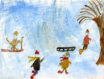Kinderen die sneeuwballen spelen Stock Foto's