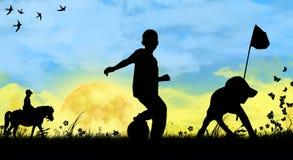 Kinderen die sporten spelen Stock Foto