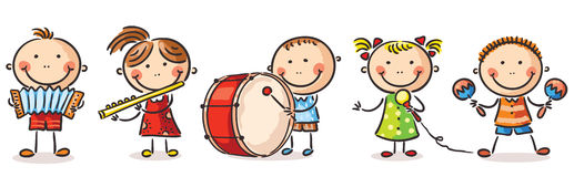 Kinderen die verschillende muzikale instrumenten spelen stock illustratie