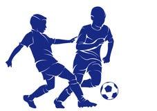Kinderen die voetbal spelen vector illustratie