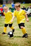 Kinderen die voetbal spelen stock afbeelding