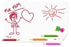 Kinderen die voor mum trekken vector illustratie
