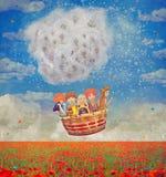 Kinderen in een ballon over het mooie landschap met papavers stock illustratie