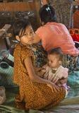 Kinderen in een Dorp in Myanmar Stock Fotografie