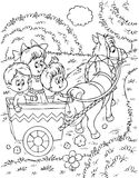 Kinderen in een horse-drawn vervoer Stock Foto's