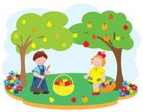 Kinderen in een tuin Stock Fotografie