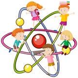 Kinderen en atoomsymbool Stock Fotografie