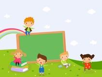 Kinderen en bord Stock Afbeelding