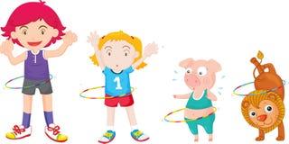 Kinderen en dieren Royalty-vrije Stock Afbeeldingen