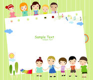 Kinderen en frame Stock Foto's