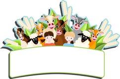 Kinderen en gelukkige landbouwbedrijfdieren Stock Afbeelding