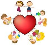 Kinderen en hart Stock Foto's