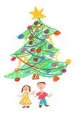 Kinderen en Kerstboom - tekening royalty-vrije illustratie
