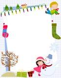 Kinderen en Kerstmiskader Royalty-vrije Stock Foto