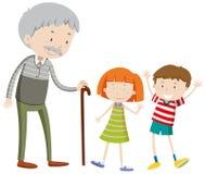 Kinderen en oude mens stock illustratie