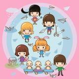Kinderen en ouders Royalty-vrije Illustratie