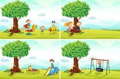Kinderen en park Stock Foto's