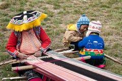 Kinderen en Peruviaanse artisanaal royalty-vrije stock foto