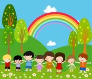 Kinderen en regenboog royalty-vrije illustratie