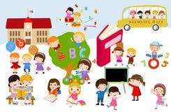 Kinderen en school royalty-vrije illustratie