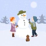 Kinderen en sneeuwman Stock Afbeeldingen