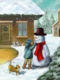 Kinderen en sneeuwman Stock Foto's