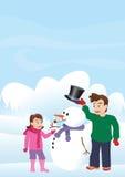 Kinderen en sneeuwman vector illustratie