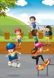 Kinderen en speelplaats stock illustratie