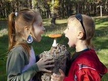 Kinderen en vlieg-plaatzwam Stock Foto