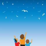 Kinderen en vogels in de hemel Kinderjaren Stock Afbeelding